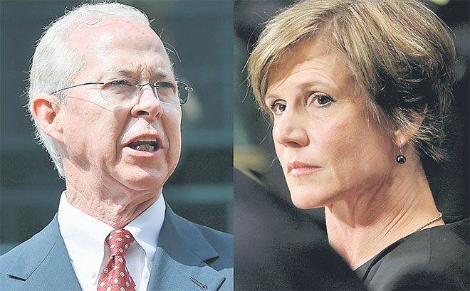 Kombinasi gambar menunjukkan Yates (kanan) di Washington pada 8 Julai, 2015 dan Boente dalam gambar 10 Jun tahun sama di Alexandria, Virginia. — Gambar Reuters/AFP