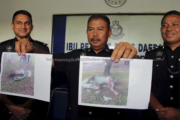 Noor Hashim (tengah) menunjukkan gambar mangsa 30-an tanpa identiti yang disyaki membakar dirinya menggunakan minyak petrol pada sidang media di Ibu Pejabat Polis Daerah Nusajaya di Johor Bahru, semalam. Mangsa dipercayai 90 peratus terbakar dan mangsa hanya berpakaian seluar pendek. — Gambar Bernama