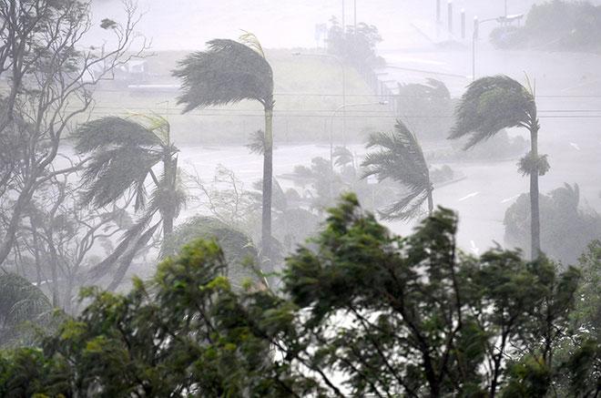 Angin kencang dan hujan lebat membadai Pantai Airlie selatan bandar utara Townsville, semalam. — Gambar Reuters