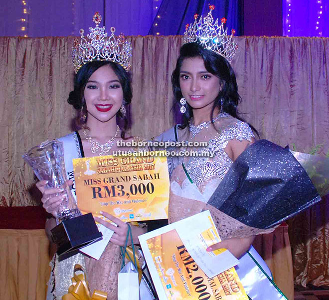 Felcy (kiri) dan Sanjeda (kanan) diumumkan sebagai Miss Grand Sabah dan Miss Intercontinental 2017.