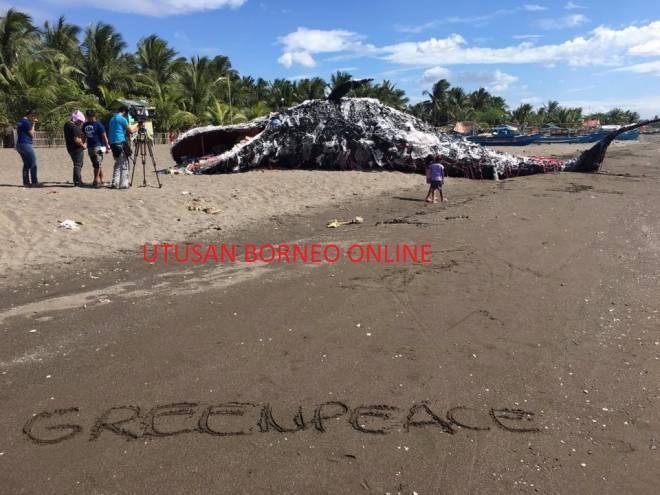 Cara kreatif Greenpeace Filipina menunjukkan kesan pencemaran plastik ke atas alam sekitar dan laut