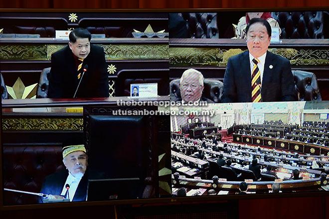 Asfia (bawah kiri) mendengar usul daripada Soon Koh (atas kanan) sebelum meluluskan usul untuk membatalkan kelayakan Dr Ting (atas kiri) sebagai ADUN Pujut.