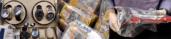 Jam tangan mewah, wang kertas dan pistol antara barangan dirampas dalam siasatan penipuan cukai dipamer pada sidang media di Ibu Pejabat Polis Persekutuan Australia di Sydney semalam. — Gambar AAP/Paul Miller/Reuters