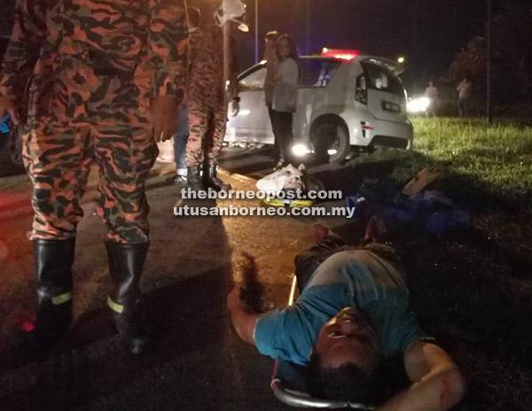 Pemandu lelaki mengerang kesakitan sebelum dikejarkan ke Hospital Sibu.