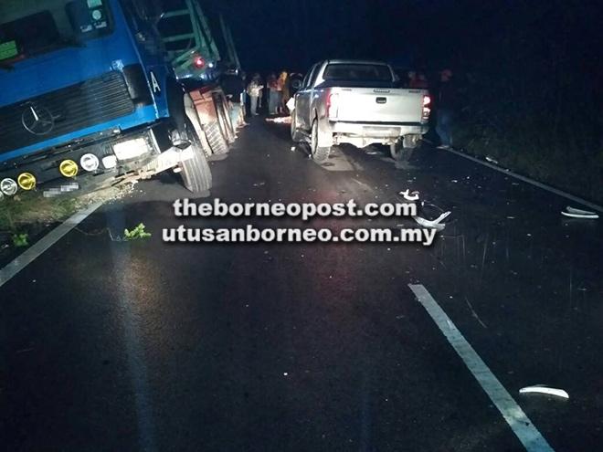 Keadaan di tempat kejadian selepas kemalangan tersebut kelmarin.