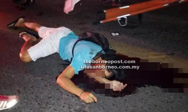 Keadaan lelaki warga Indonesia yang maut selepas dirempuh sebuah pacuan empat roda semalam.