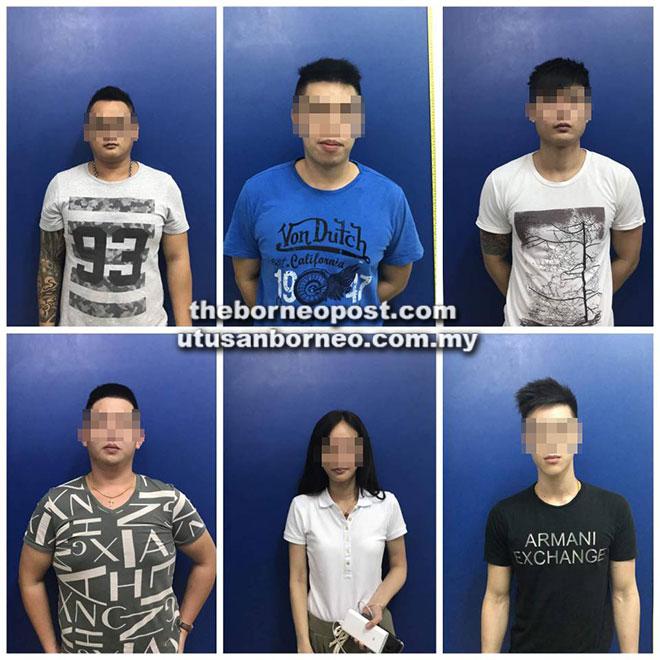Enam daripada tujuh suspek ditahan polis untuk siasatan lanjut.