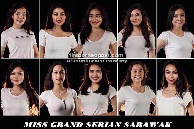Sepuluh finalis Miss Grand Serian Sarawak 2018.