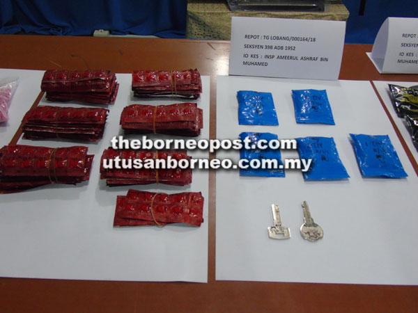 Pelbagai jenis pil dan dadah yang dipercayai diedar untuk pasaran Miri.