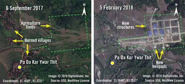 Imej gabungan daripada gambar satelit serahan Amnesty International dan DigitalGlobe semalam menunjukkan imej sebelum dan selepas struktur keselamatan dibina oleh Myanmar di kampung Rohingya, Pa Da Kar Ywar Thit, di negeri Rakhine. — Gambar AFP