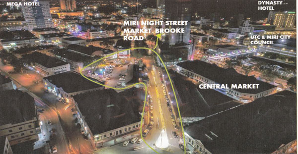 Lokasi yang ditandakan disasar menjadi tapak Pasar Malam Miri kelak.