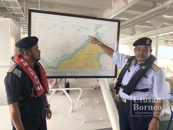 ADAM menunjukkan lokasi nelayan asing ditahan di dalam peta Sabah.