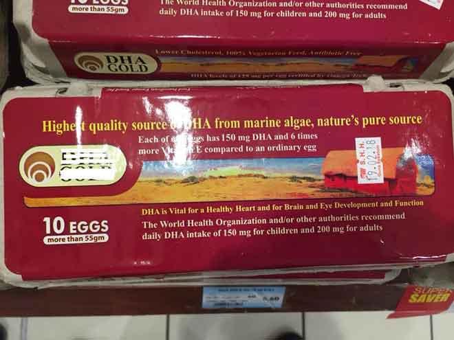 Produk telur mengandungi DHA yang berada di pasaran Malaysia.