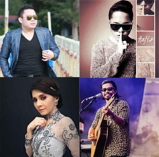 (Dari kiri) Rickie Andrewson, Hafiz Suip, Noh Salleh dan Zizi Kirana antara artis yang akan menghiburkan orang ramai semasa Konsert Dirgahayu yang akan diadakan di Dataran Bandar Sibu pada Sabtu ini.
