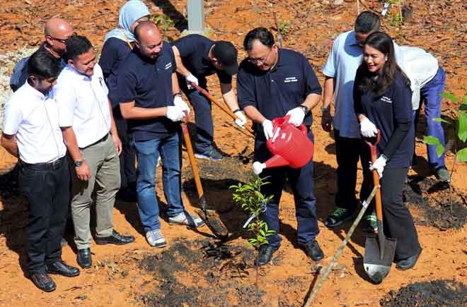 Eddin (depan, dua kanan) menyiram pokok hutan yang ditanam pada Majlis Pelancaran Sri Gumum Cyber Cube dan Penanaman Semula Pokok di Pusat Penyelidikan Tasik Chini Universiti Kebangsaan Malaysia (UKM), Pekan dekat Pekan, semalam. Turut hadir  Zuraida (kanan). — Gambar Bernama