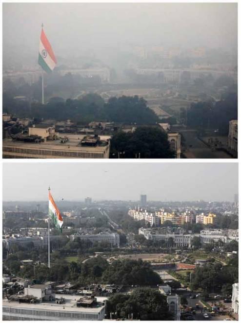 Gambar kombinasi menunjukkan bangunan diselubungi jerebu di New Delhi, India semalam (atas) dan di tempat yang sama kelmarin. — Gambar Reuters