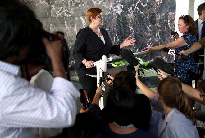 Payne bercakap di kedutaan Australia di Bangkok, Thailand, pada Khamis. — Gambar Reuters