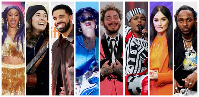 Gambar kombinasi yang disusun oleh Reuters ini menunjukkan barisan calon Anugerah Grammy untuk kategori 'Album of the Year'  iaitu (dari kiri) Cardi B, Brandi Carlile, Drake, H.E.R., Post Malone, Janelle Monae, Kacey Musgraves dan Kendrick Lamar.  — Gambar Reuters