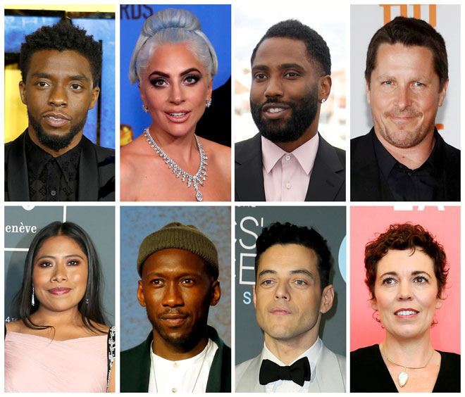 Calon-calon filem terbaik Oscar untuk Anugerah Akademi ke-91 (atas, dari kiri) Chadwick Boseman mewakili 'Black Panther', Lady Gaga 'A Star is Born', John David Washington 'BlacKkKlansman', Christian Bale 'Vice', (bawah, dari kiri) Yalitza Aparicio 'Roma', Mahershala Ali 'Green Book', Rami Malek 'Bohemain Rhapsody' dan Olivia Colman 'The Favourite'.  — Gambar Reuters