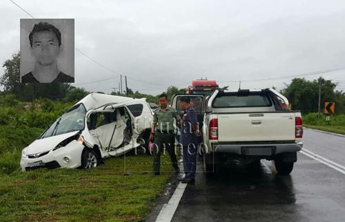 Keadaan kedua-dua kenderaan selepas terlibat dalam kemalangan di selekoh Telok Sabang hari ini.