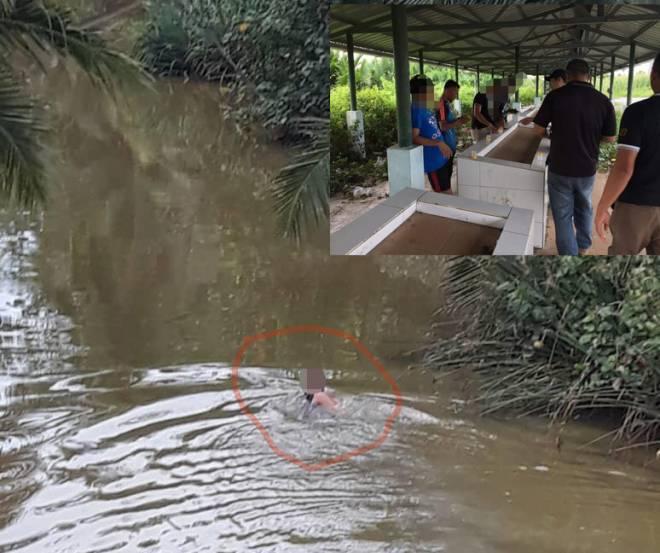 Lelaki yang disyaki penagih dadah (dibulat) nekad terjun sungai ada buaya. Gambar kecil menunjukkan anggota AADK memeriksa suspek.