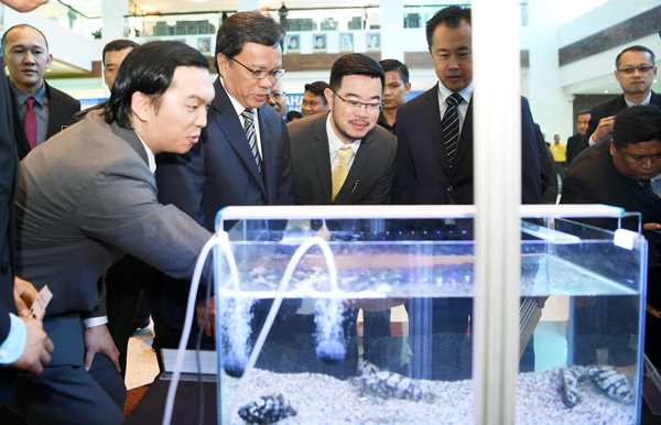 SHAFIE (dua, kiri) tertarik dengan spesies baharu ikan Echo Grouper iaitu ikan hasil kacukan ketika melakukan pelancaran spesies baharu ikan itu di lobi bangunan Dewan Undangan Negeri Sabah hari ini.