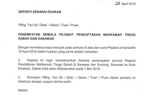 Pejabat Pendaftar Mahkamah Tinggi Sabah Dan Sarawak Belum Pindah 1 Mei Utusan Borneo Online