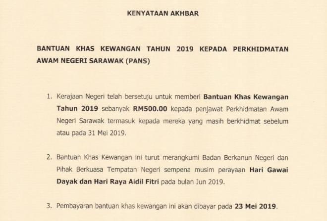 Duit Gawai Dan Raya Untuk Kakitangan Awam Sarawak Utusan Borneo Online