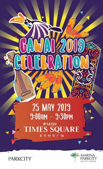 Gambar mengenai sambutan Gawai Dayak anjuran Marina Parkcity di Miri Times Square pada 25 Mei ini.