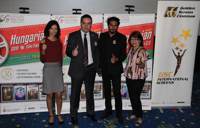 (Dari kiri) Naseem Randhawa (Cinema Online, rakan kongsi rasmi Pesta Filem Hungary 2.0), Attila Kali (Duta dari Hungary ke Malaysia), Mugen Rao (tetamu istimewa, Pesta Filem Hungary 2.0), Tan Gaik Lian (Pengurus – Festival Filem, GSC).