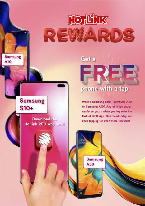 Kempen 'Free Phones Every Day' menawarkan peluang untuk memenangi telefon Samsung S10+, Samsung A10, atau Samsung A30.