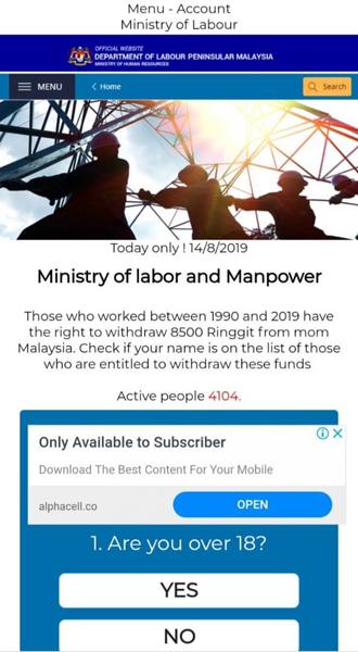 Paparan skrin bagi laman sesawang di mana pengguna dilencongkan untuk menyemak kelayakan mereka.