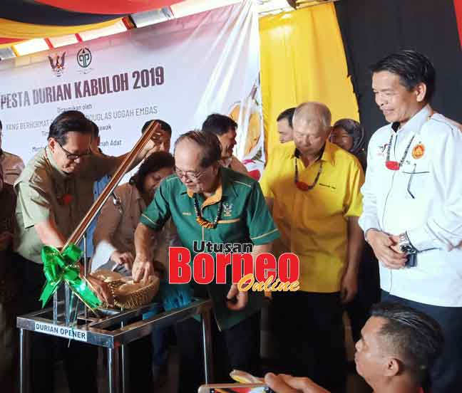 Lee nyaup Uggah muka kulit rian ngena 'Durian Opener' kelai bejadika Pesta Durian Kabuloh kemari.