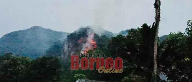 Kawasan hutan yang didapati terbakar pagi semalam.