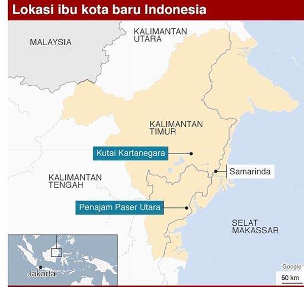 PETA lokasi ibu kota negara baharu Indonesia.