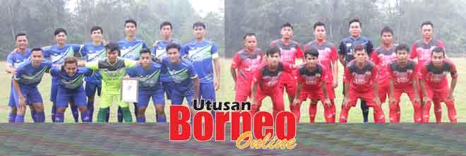 Serian Project Team (kiri) dan Kelab Sukan Reakreasi Ulu Simunjan (KSRUS) masih kekal tidak terkalah dalam saingan Liga Serian/Lea Sports Centre 2019.