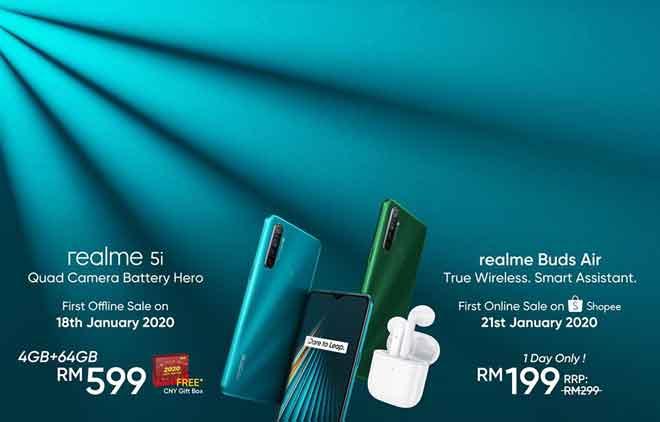 realme Buds Air dijual dengan harga pasaran RM299 manakala telefon pintar realme 5i dijual dengan harga RM599.