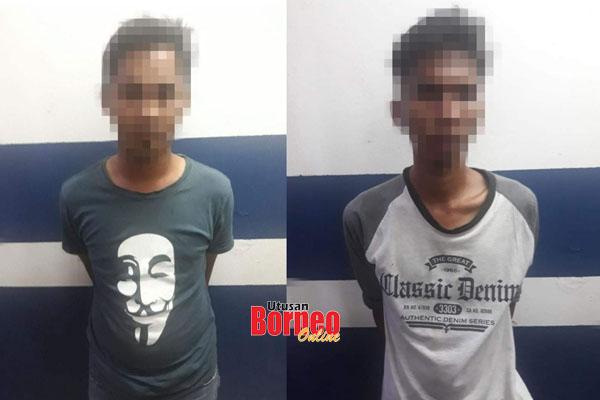 Kedua-dua suspek yang ditangkap dalam serbuan tersebut.