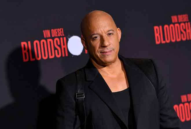Gambar fail bertarikh 10 Mac 2020 menunjukkan Vin Diesel tiba untuk tayangan perdana filem  'Bloodshot' di panggung Regency Villagedi Westwood, California. — Gambar AFP