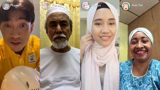 (Dari kiri) Fadzil, Pak Tam, Syasya dan Mak Teh kekal berhubung menerusi panggilan video meskipun jarak memisahkan mereka.