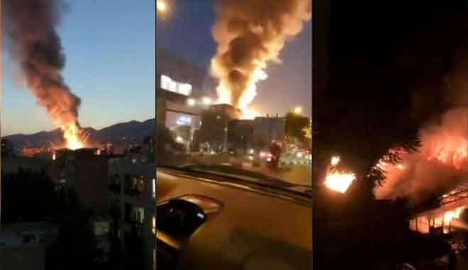 Gabungan gambar diperolehi daripada agensi berita Iran Press menunjukkan kejadian letupan di sebuah klinik              di utara Tehran kelmarin. — Gambar AFP