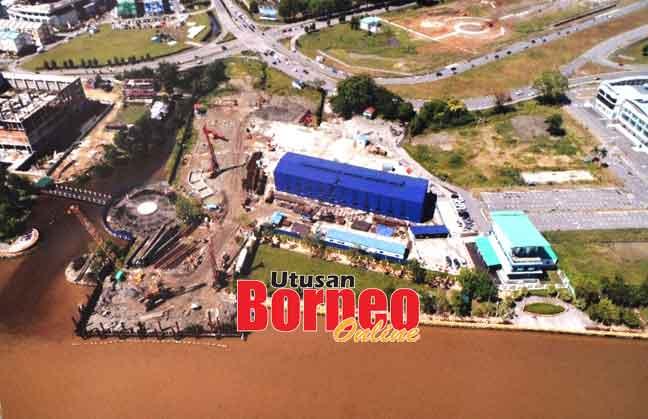 Kerja-kerja pembinaan Jambatan Kuala Kemena-Jepak sedang                     dilaksanakan di kawasan seberang bandar Bintulu.