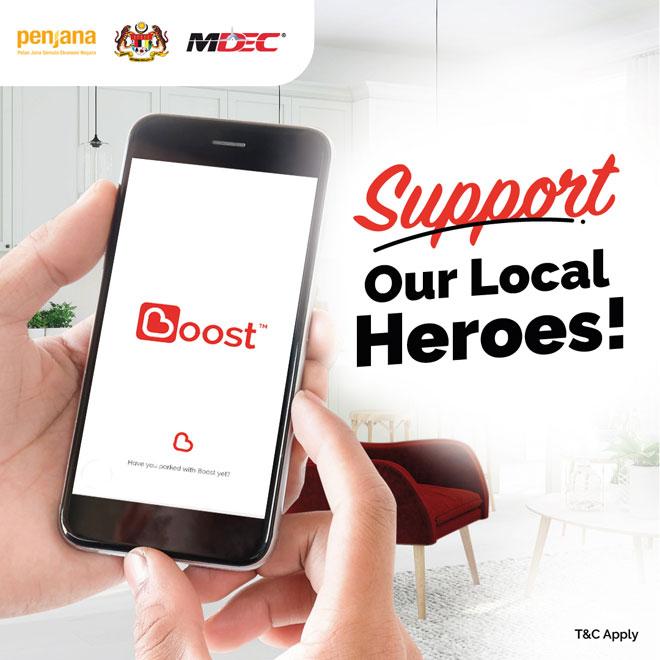 Aplikasi e-wallet, Boost membantu peniaga dan                    usahawan mikro dan PKS pulih dalam ekonomi negara yang kurang stabil masa kini.