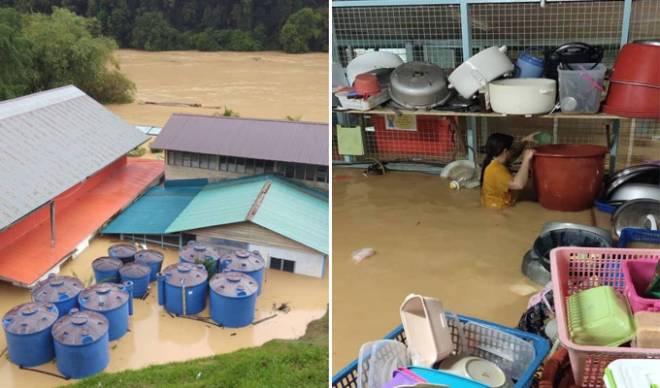 Keadaan SK Temenggong Koh dinaiki air 2.5 meter. - Gambar ihsan JBPM