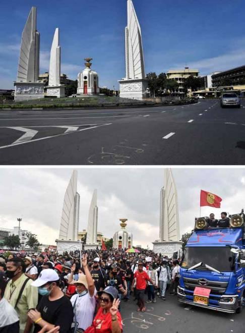 Kombinasi gambar menunjukkan keadaan di Tugu Demokrasi kelmarin (atas) dan ketika protes memuncak sehari sebelumnya. — Gambar AFP