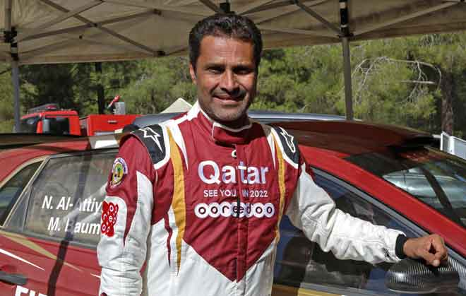Nasser al-Attiyah bergambar dengan jentera Volkswagen Polo GTI R5 miliknya semasa sesi temu ramah dengan AFP menjelang perlumbaan Rali Cypurs. — Gambar AFP