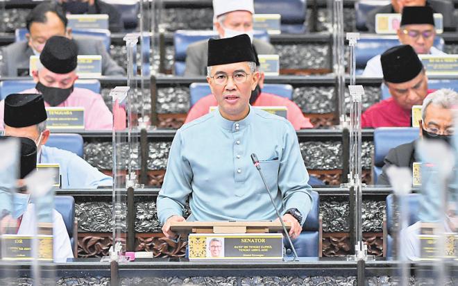 Tengku Zafrul ketika membentangkan Belanjawan 2021 di Parlimen pada Jumaat lepas. — Gambar Bernama