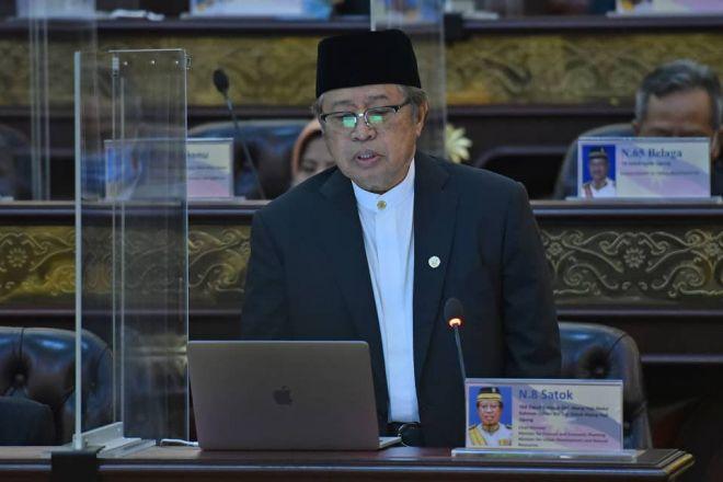 Abang Johari ketika sesi penggulungan Belanjawan Sarawak 2021 hari ini. - Gambar ihsan Jabatan Penerangan