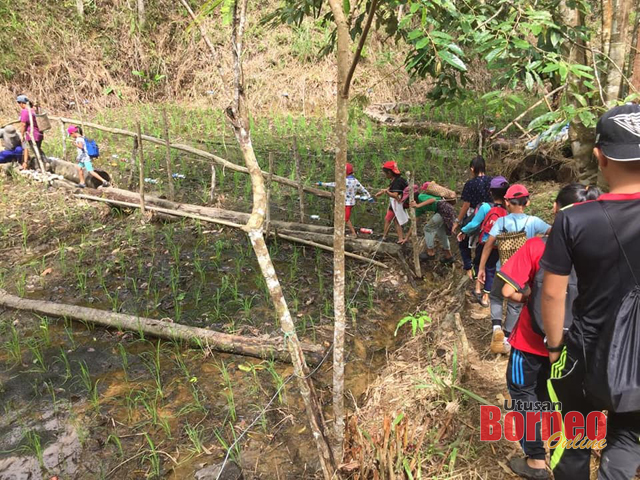 Kumpulan tesebut melalui jambatan kecil menuju ke destinasi