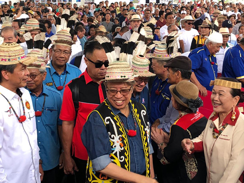 Gambar fail pada 2018 menunjukkan Abang Johari pada satu majlis di Miri.